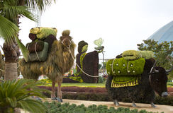 Statues Animals Insects and humans made from plants and herbs. Royalty Free Stock Images