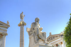 Statues of Apollo and Socrates Academy of Athens Stock Image