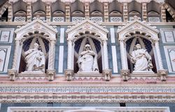 Statues of the Apostles and the fine architectural detail of the of the, Portal of Cattedrale di Santa Maria del Fiore in Florence. Statues of the Apostles and Royalty Free Stock Photos