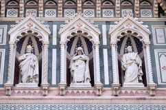 Statues of the Apostles and the fine architectural detail of the of the, Portal of Cattedrale di Santa Maria del Fiore in Florence. Statues of the Apostles and Stock Image