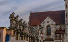 Statues of 12 apostles. Roman Catholic Church  Saints Peter and Paul in Baroque style. Old Town district  Krakow Stock Images