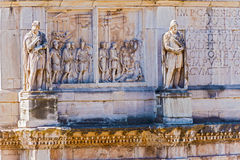 Statues on the Arch of Constantine in Rome, Italy. In August 29, 2014 Royalty Free Stock Photography