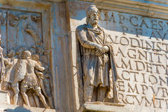Statues on the Arch of Constantine in Rome, Italy Stock Images