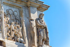 Statues on the Arch of Constantine in Rome, Italy. In August 29, 2014 Stock Photos