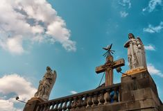 Statues of the Archangels Gabriel and Uriel in Mexico City Stock Photo