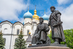 Statues of architects, Kazan Kremlin, Russia Royalty Free Stock Images