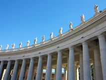 Statues and architectural details on Saint Peter square in Vatic Royalty Free Stock Photo
