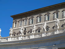 Statues and architectural details on Saint Peter square in Vatic Stock Photo