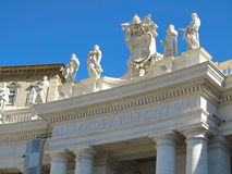 Statues and architectural details on Saint Peter square in Vatic Royalty Free Stock Images