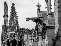 The statues and architectural elements of the main facade of Notre Dame de Paris. PARIS, FRANCE – 21 SEPTEMBER 2012: The statues and architectural elements of Royalty Free Stock Photography