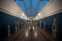 Statues at an art museum. Greek sculptures and statutes at Ny Carlsberg Glyptotek Stock Image