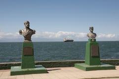 Statues of Arturo Prat & Ignacio Pinto - Puerto Montt - Chile Royalty Free Stock Images