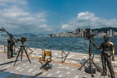 Statues Avenue of Stars Tsim Sha Tsui Kowloon Hong Royalty Free Stock Images