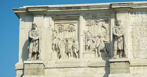 Statues and bas-reliefs of Constantine arch. Bas-reliefs and sculptures on the triumphal arch of the Constantine emperor in Rome Stock Photography