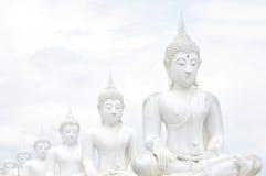 Statues blanches de Bouddha images libres de droits