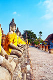 Statues of Buddha on a row in temple Wat Yai Chai Mongkol Stock Image