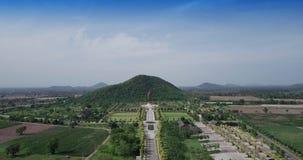 Statues of Buddha at Wat Thipsukhontharam, Kanchanaburi province,Thailand stock footage