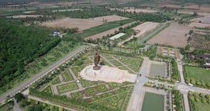 Statues of Buddha at Wat Thipsukhontharam, Kanchanaburi province, Thailand stock footage