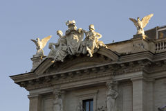 Statues on the building roof of Piazza della Repubblica. ROME, ITALY - DECEMBER 30 2014: Close up of the statues on the building roof of Piazza della Repubblica royalty free stock image