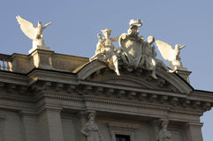 Statues on the building roof of Piazza della Repubblica. ROME, ITALY - DECEMBER 30 2014: Close up of the statues on the building roof of Piazza della Repubblica stock photography