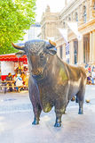 Statues of the bull in front of the Frankfurt Stock Exchange Royalty Free Stock Photography