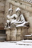 Statues in Campidoglio square under snow Stock Photography
