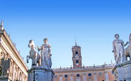 Statues on the Capitoline Hill of Rome Italy Stock Photo