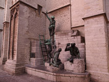 Statues By Cathedral In Antwerp Royalty Free Stock Photo