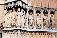 Statues of Cathedral Tarragona, Catalonia, Spain. Apostles figures along the main entrance of the Tarragona Cathedral, a Roman Catholic church in Tarragona royalty free stock images
