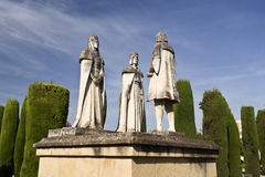 Statues of the Catholic Monarchs and Christopher Columbus. Statues of the Catholic Monarchs (Ferdinand and Isabella) and Christopher Columbus in the gardens of stock photography