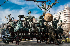 Statues of the characters and Ion Luca Caragiale. In Bucarest, Romania royalty free stock photos