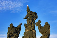 Statues on the Charles Bridge, Moldau, Old Town, Prague,  Czech Republic Stock Image