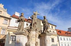 Statues on Charles Bridge, Prague, Czech Republic. Stock Photo