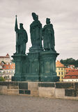 Statues on Charles bridge Royalty Free Stock Images