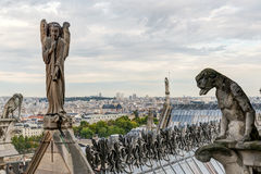 Statues and Chimeras (gargoyles) of the Cathedral of Notre Dame Stock Photo