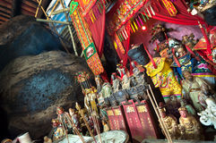 Statues of Chinese gods on the main altar of Hung Shing Temple, Wan Chai, Hong Kong Stock Photography