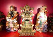 Fu lu shou. Statues of chinese traditional god represent long live, prosper and good luck in china restaurant royalty free stock photo