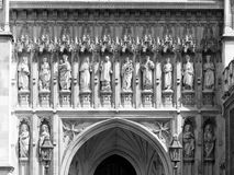 Statues of Christian martyrs above Great West Door of Westminste Stock Image