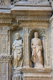 Statues at the Church of Haro, La Rioja. Statue of Saint Thomas and another Apostle at the 16th Century Principal Gate of the Church of Santo Tomas in Haro, La Royalty Free Stock Images