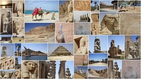 STATUES COLLAGE IN EGYPT Royalty Free Stock Image
