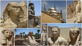 STATUES COLLAGE IN EGYPT Royalty Free Stock Photos