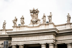 Statues on colonnades that surround St. Peter's Square in Rome Royalty Free Stock Photos