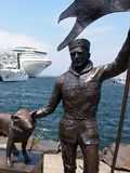 Statues and Cruise Ship, Hobart Royalty Free Stock Images