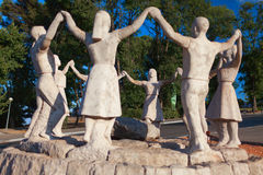 Statues of dancing kids. Barcelona, Spain. Royalty Free Stock Images