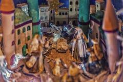 Statues dans une scène de nativité de Noël Photo stock