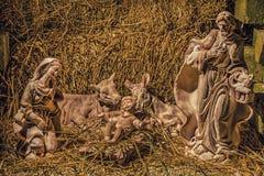 Statues dans une scène de nativité de Noël Photo libre de droits