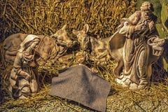 Statues dans une scène de nativité de Noël Images libres de droits