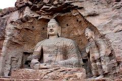 Statues de Bouddha dans des grottes de Yungang, Datong, Chine Images libres de droits