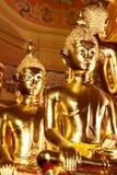 Statues de Bouddha, visage d'or Bouddha, fin vers le haut de visage d'or Bouddha Photographie stock libre de droits