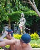 Statues de boxeurs de coup-de-pied Images libres de droits